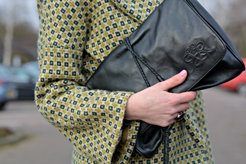 Raoul black leather over-sized clutch