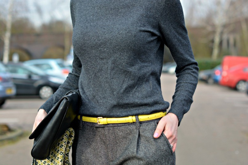 grey cashmere poloneck and wool trousers