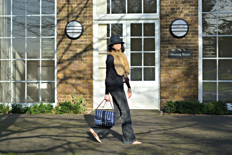 Laura Ashley Trilby | Zara fur stole | Gucci flares | Halogen t-bar flats | Boden top | French Connection cardigan | Anya Hindmarch bag