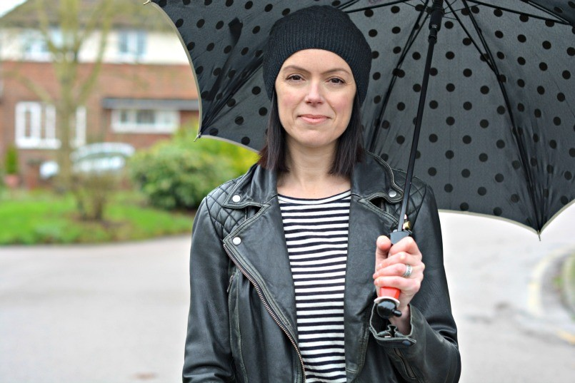 Moschino umbrella | AllSaints beanie | AllSaints Cargo leather biker jacket | Whistles breton striped top