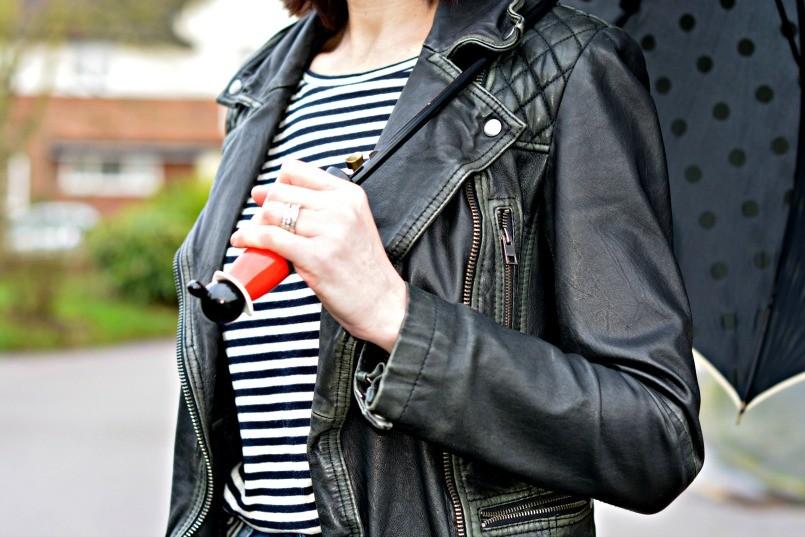 Moschino umbrella | Whistles breton top | AllSaints Cargo leather biker jacket