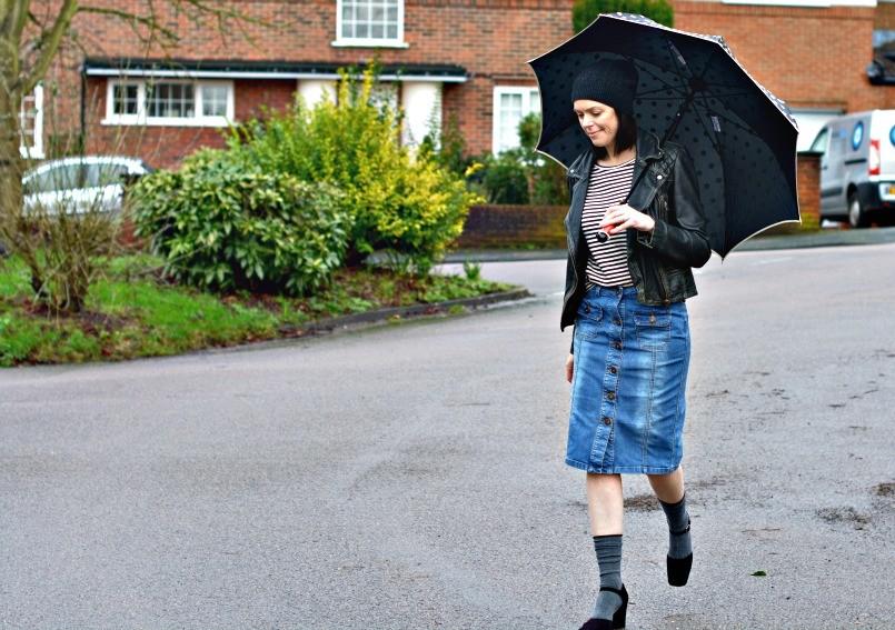 moschino umbrella umbrella | AllSaints leather biker jacket | Whistles breton top | Button through denim skirt
