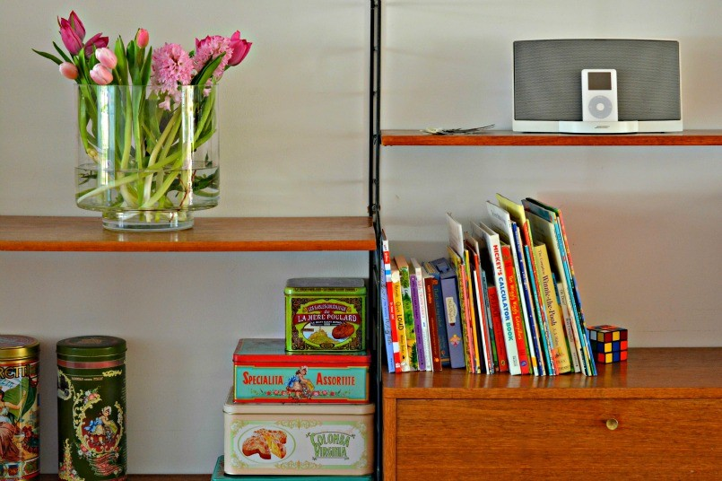 String shelving with Vintage Tins