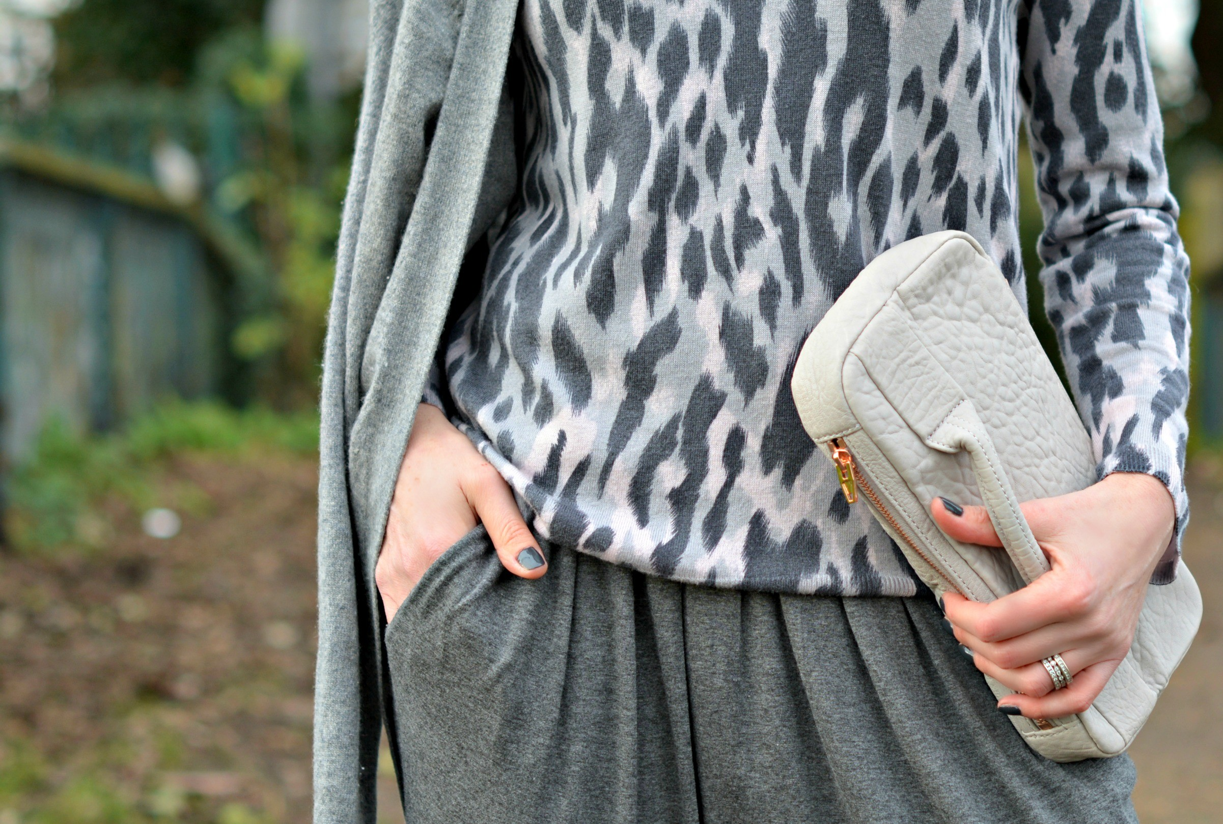 Theory cashmere cardigan   Whistles leopard print jumper   Sandro jumpsuit   Alexander Wang clutch