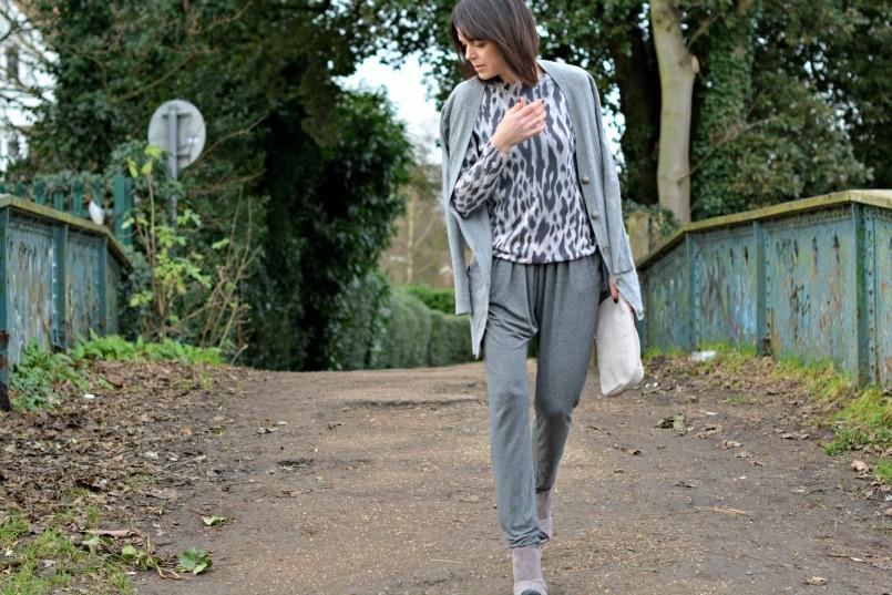 Theory cashmere cardigan   Whistles leopard print jumper   Sandro jumpsuit   Alexander Wang clutch   Sigerson Morrison sandals