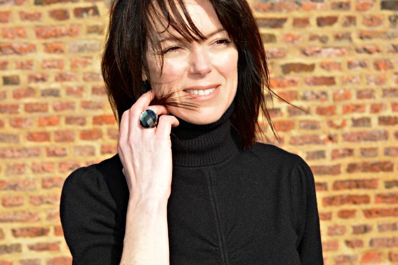 black cashmere turtleneck jumper