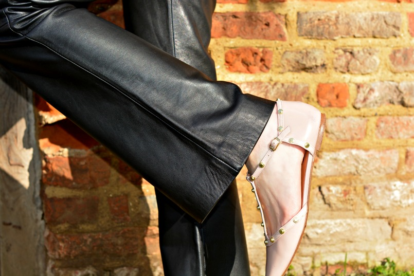how to style leather trousers over 40|Jigsaw leather trousers|pink t-bar flats