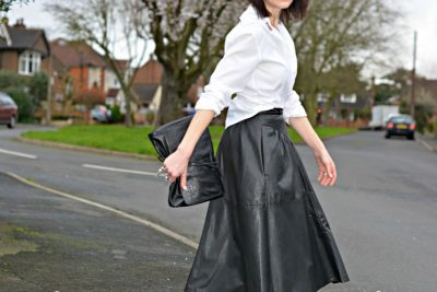 Monochrome - white shirt | black leather shirt | ballet flats