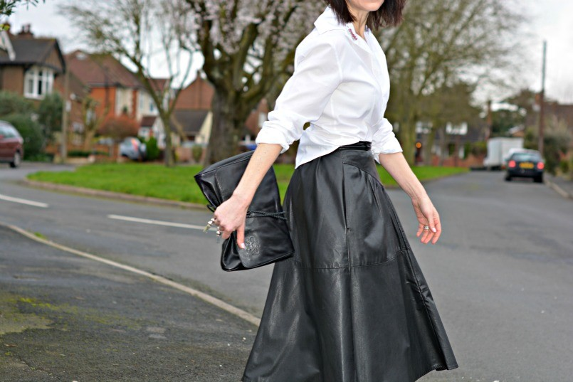 Monochrome - white shirt | black leather shirt | ballet flats
