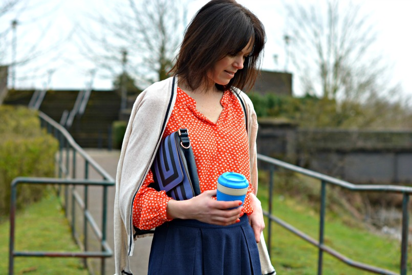 Boden orange shirt with Whistles navy skirt