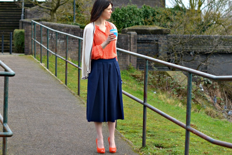 Whistles navy blue linen skirt | Boden orange shirt | Whistles orange platform pumps | Anya Hindmarch blue striped clutch