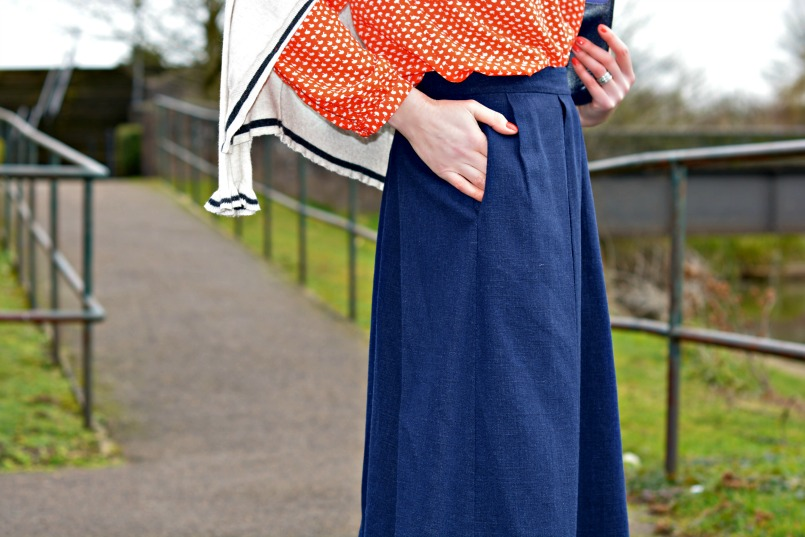 Whistles navy linen full skirt