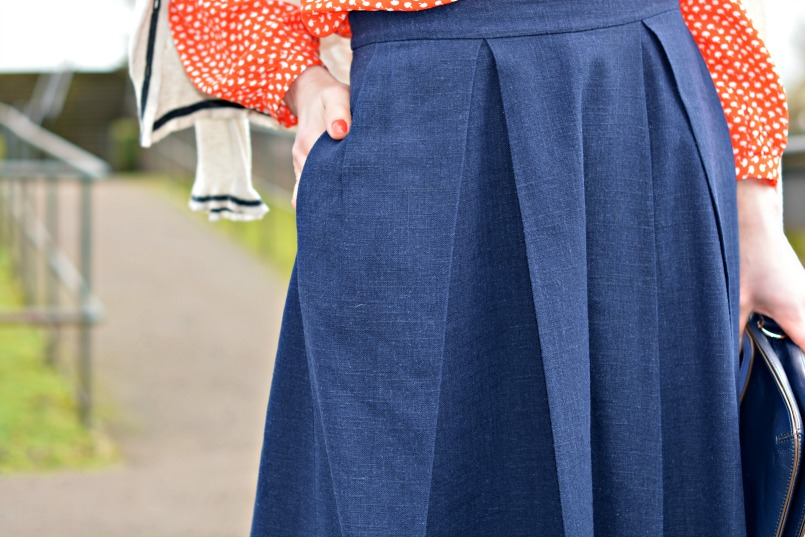 Whistles navy full skirt