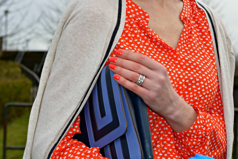 Boden orange shirt | Anya Hindmarch blue clutch | OPI orange Varnish