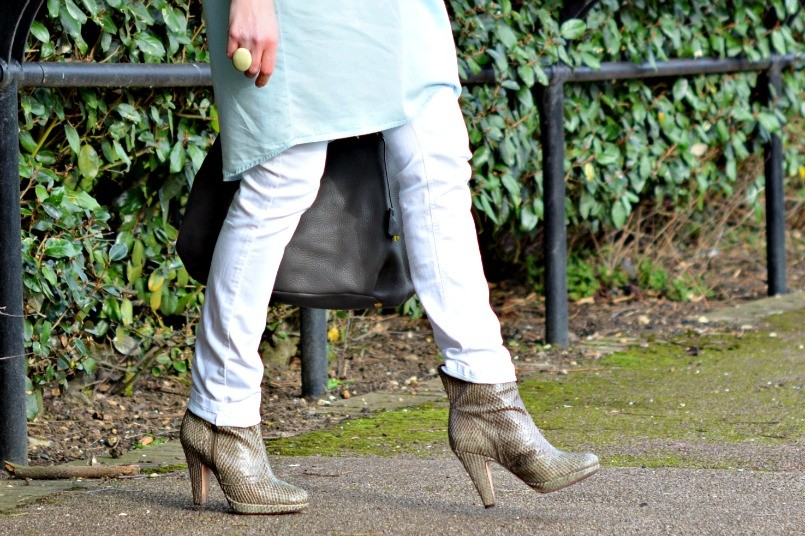 All Saints snake skin ankle boots