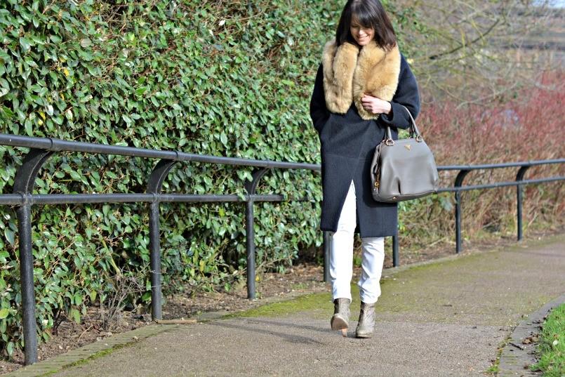 whistles chambray dress   AllSaints snake skin boots   The White Company white jeans   Prada bag   Maje coat   Zara fur stole