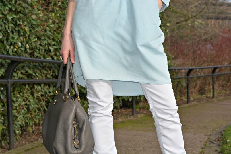 whistles chambray dresThe White Company white jeans   Prada bag