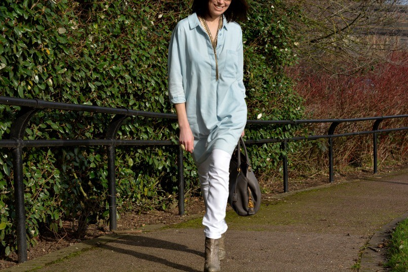 whistles chambray dress   AllSaints snake skin boots   The White Company white jeans   Prada bag