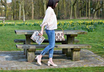 BA&SH bell sleeved shirt | Current Elliott cuffed jeans | Dune pale pink block heel court shoe