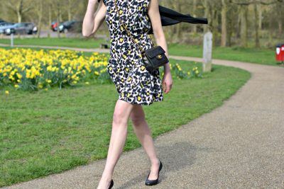 spring yellow animal print dress | chanel 2.55 mini | lanvin ballet wedge heel shoes