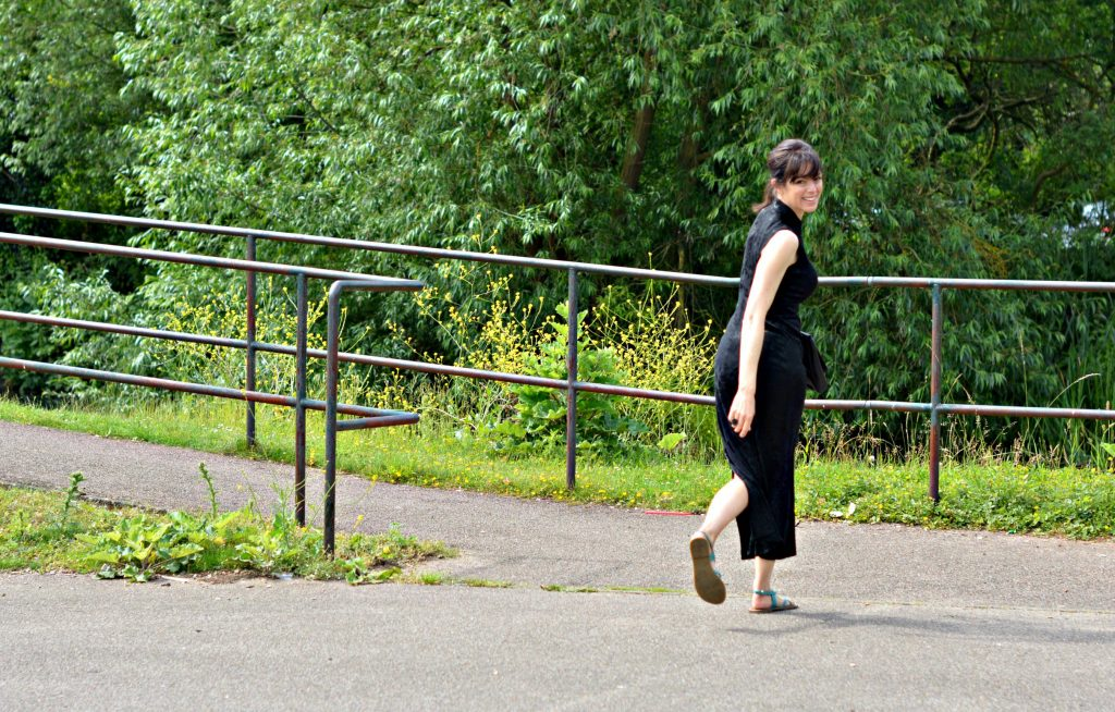 Flat sandals dressed up with LBD