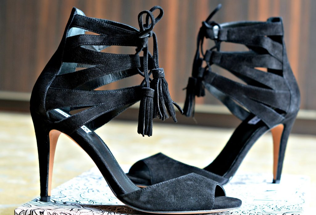 Ted & Muffy black suede lace up tassels high heel sandals
