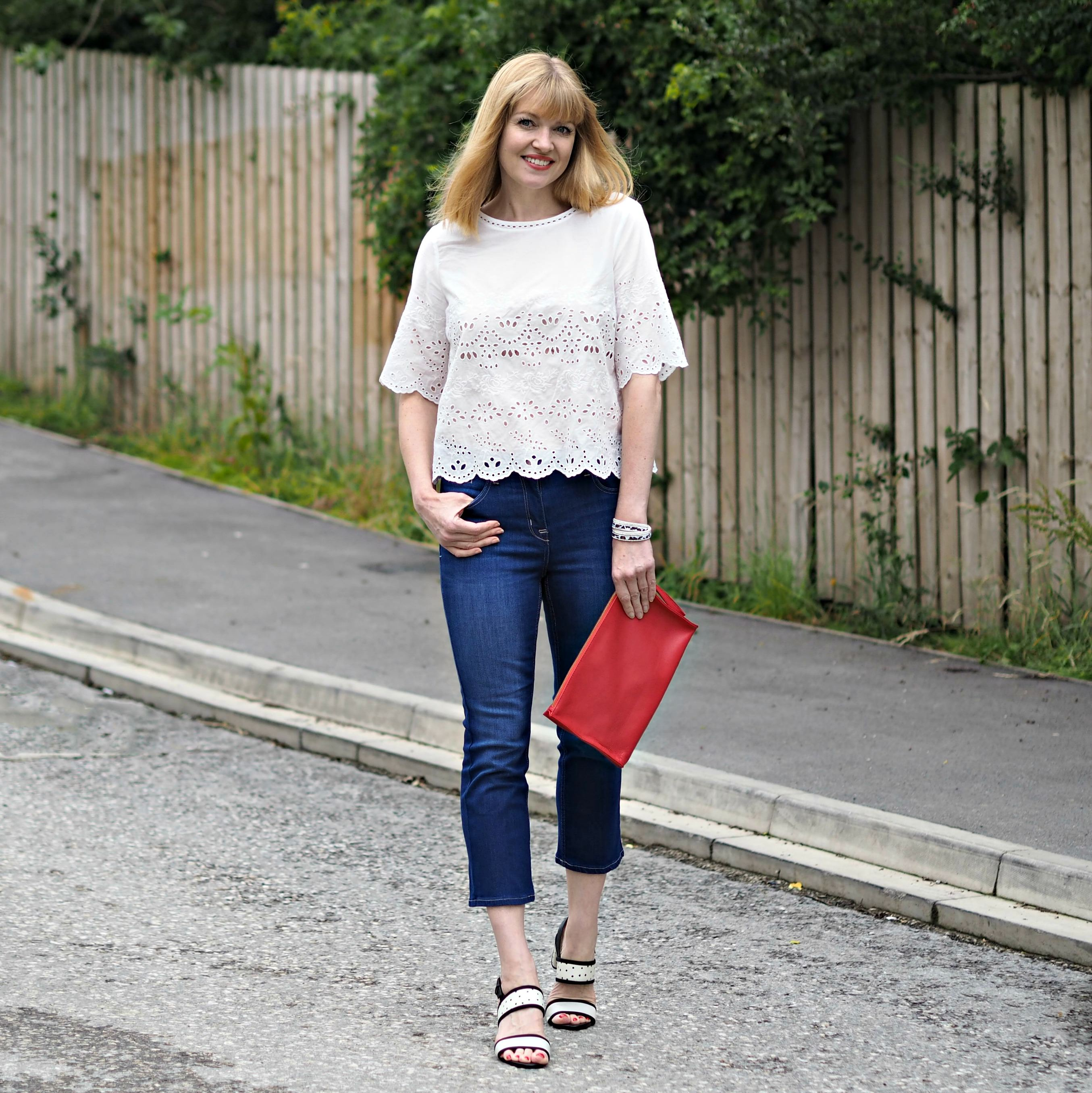 Whatlizzyloves- wearing Marks and Spencer white shirt - The Over 40 Collective White top Challenge