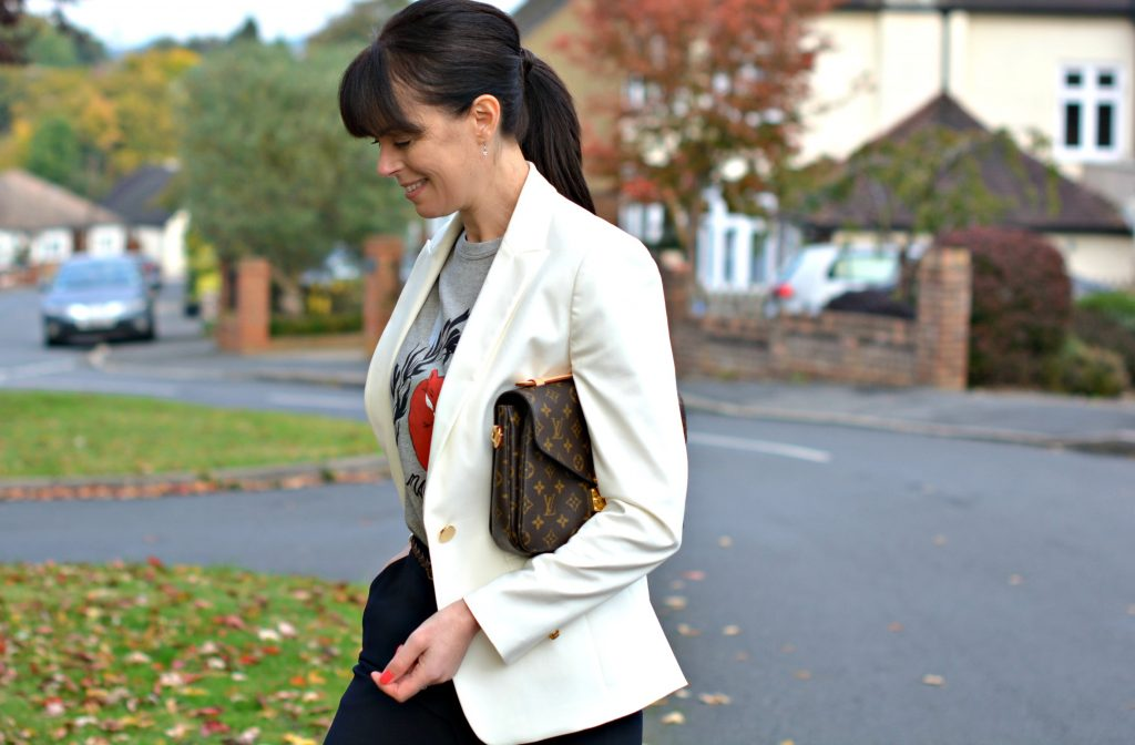 Marks and Spencer white blazer Maison Kitsune t-shirt Vintage tan plaited belt and Winser London wide leg trousers