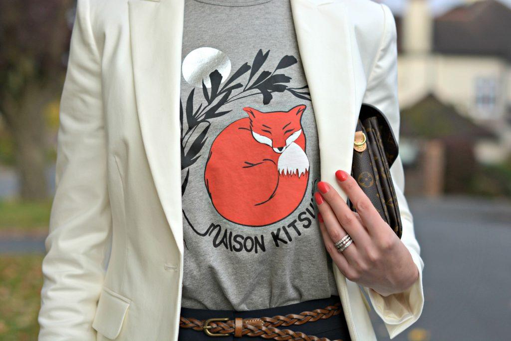 Marks and Spencer white blazer Maison Kitsune t-shirt Vintage tan plaited belt and NailsInc gel polish
