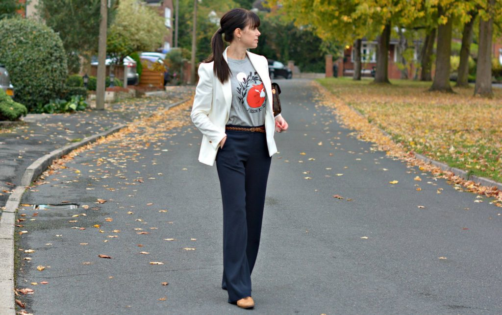 Doing Grown up Preppy - wide leg trousers t-shirt blazer and brogues
