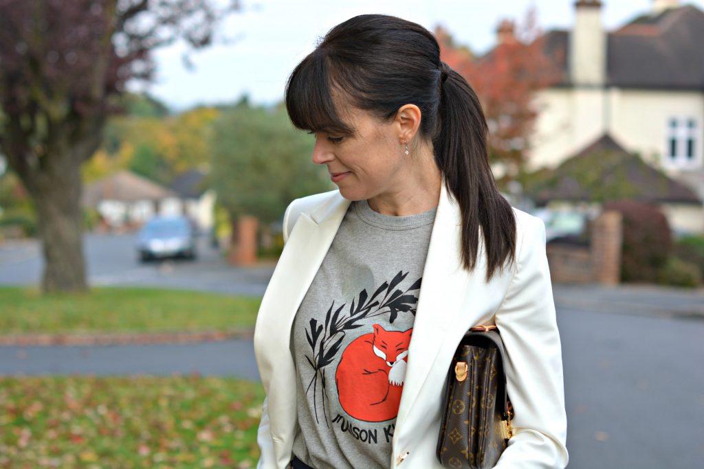 Marks and Spencer white blazer Maison Kitsune t-shirt and Louis Vuitton Metis bag