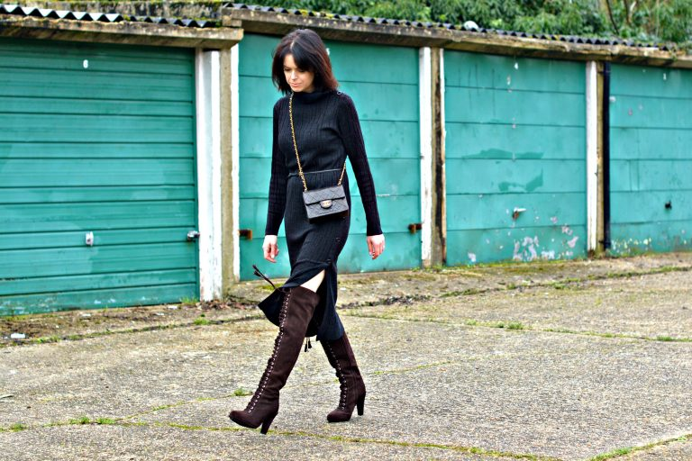 allsaints jumper dress and over the knee boots
