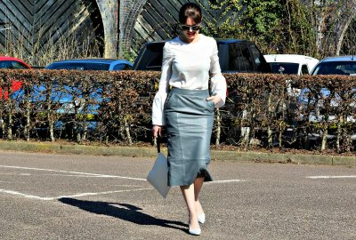 white statement sleeves top FinerLondon| grey leather skirt UrbanCode | grey shoes Zara - How to colour block