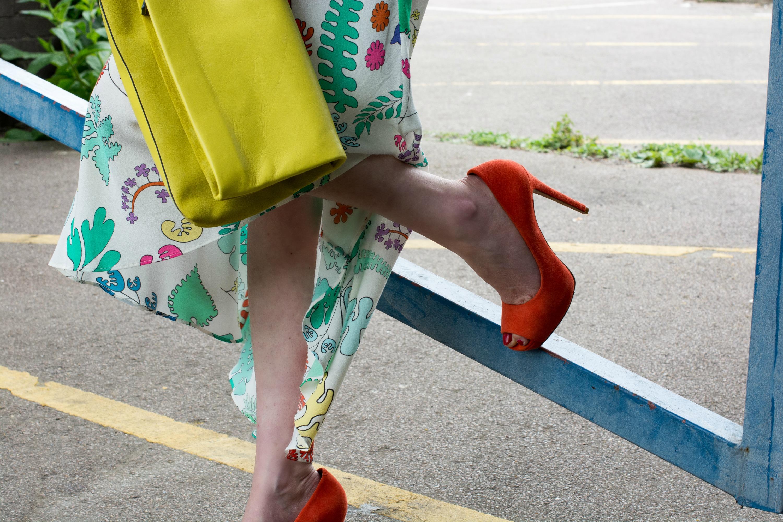Whistles bright orange suede platform pumps