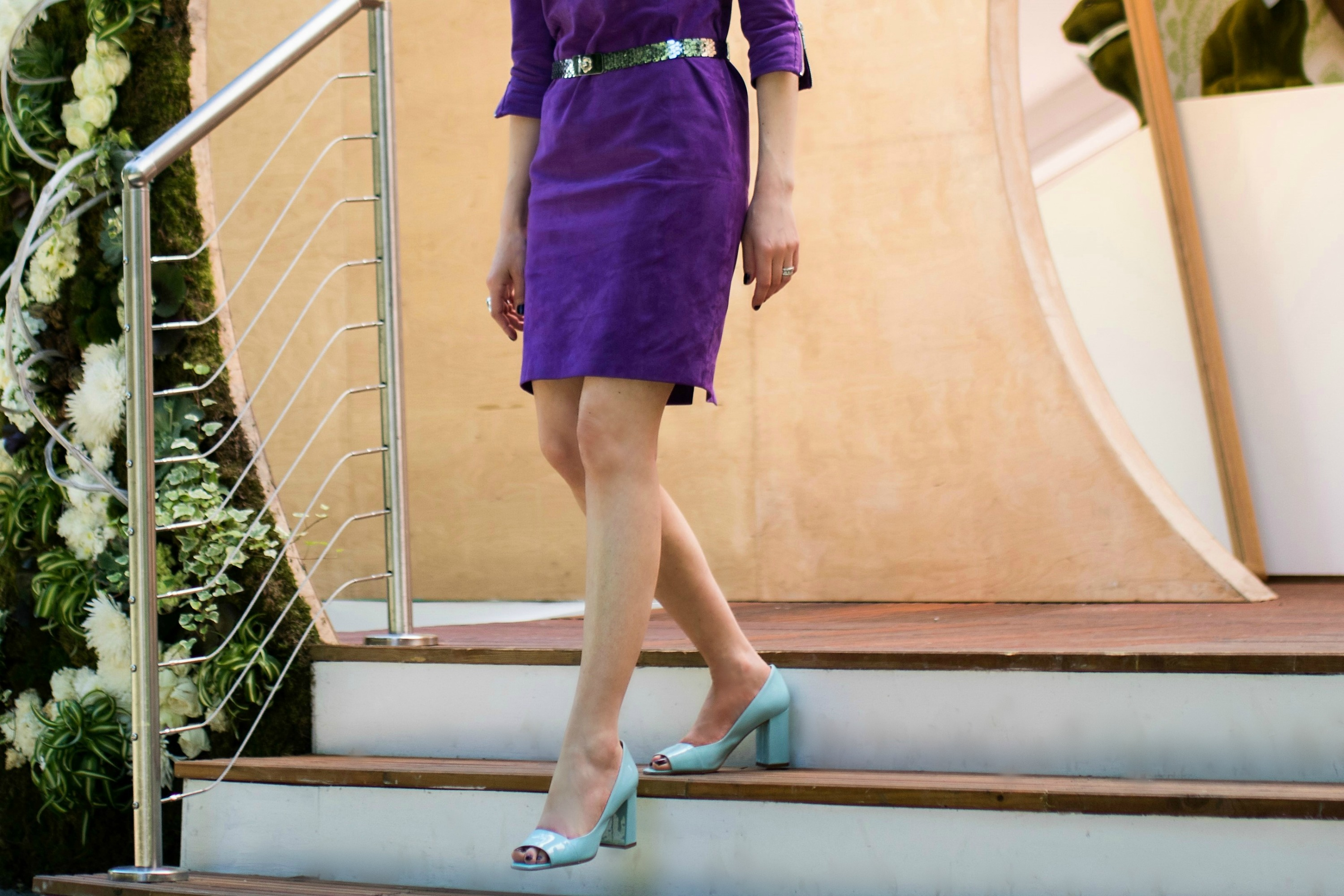madeleine purple suede dress dress baby blue patent heels