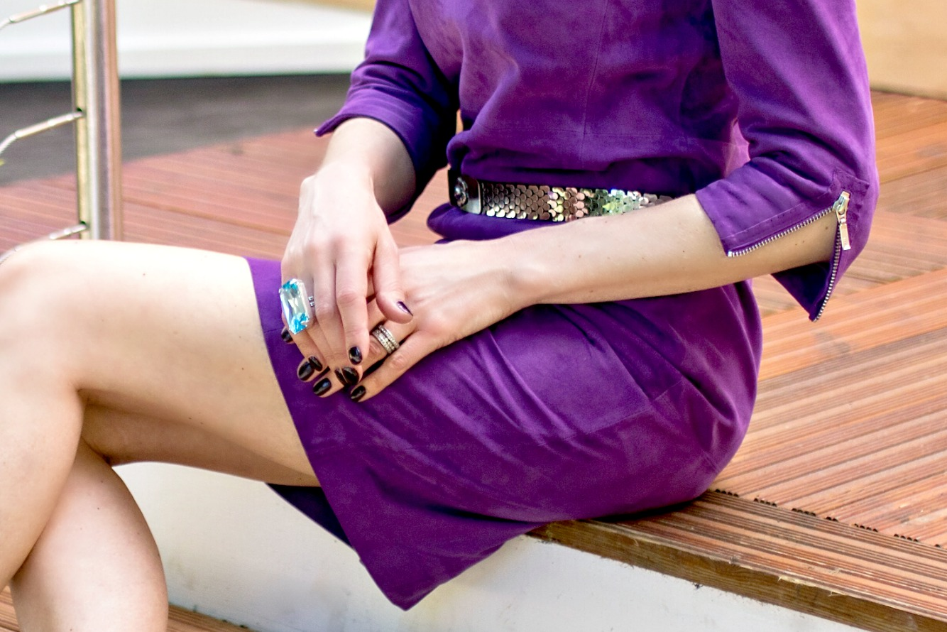 madeleine purple suede dress dress baby blue swarovski statement ring