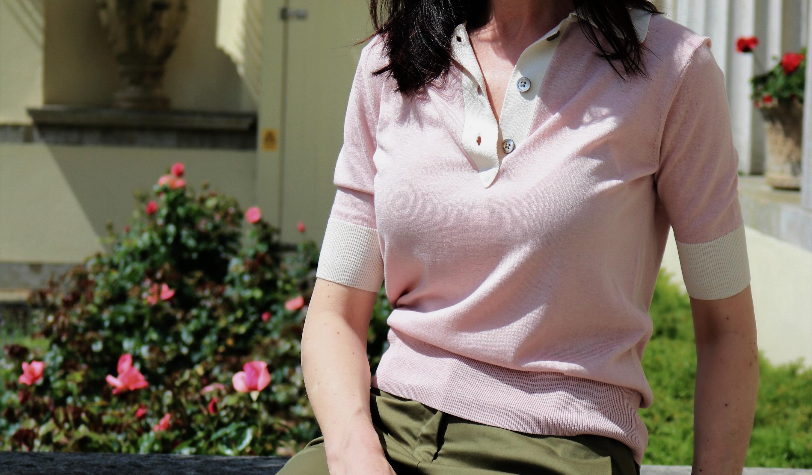 Winser-london-khaki-stretch-cottontwill-trouser-silk-blend-pink-polo-top-retrochicmama-preppy