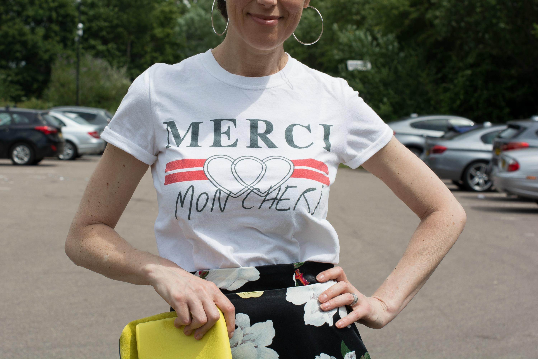 topshop merci t-shirt with hoop earrings