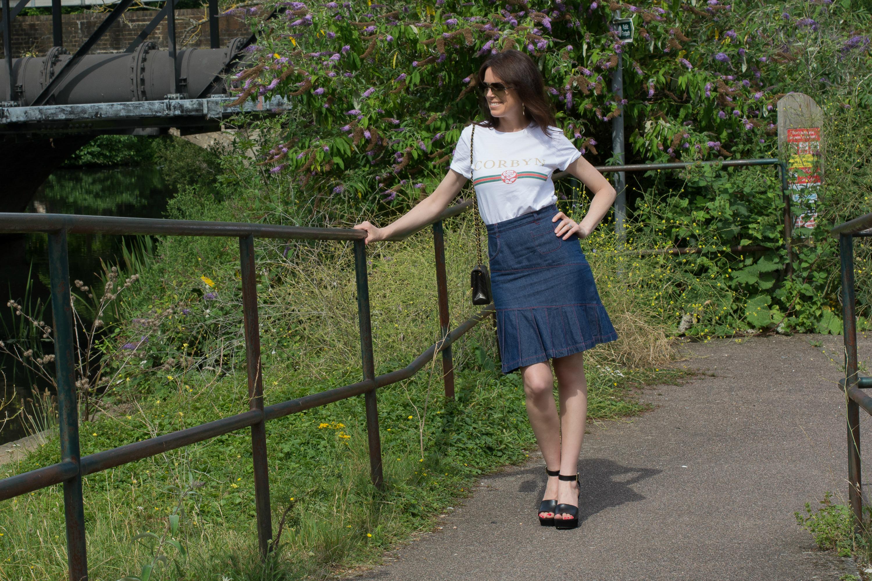 political-t-shirt-slogan-denim-skirt-wedge-heels