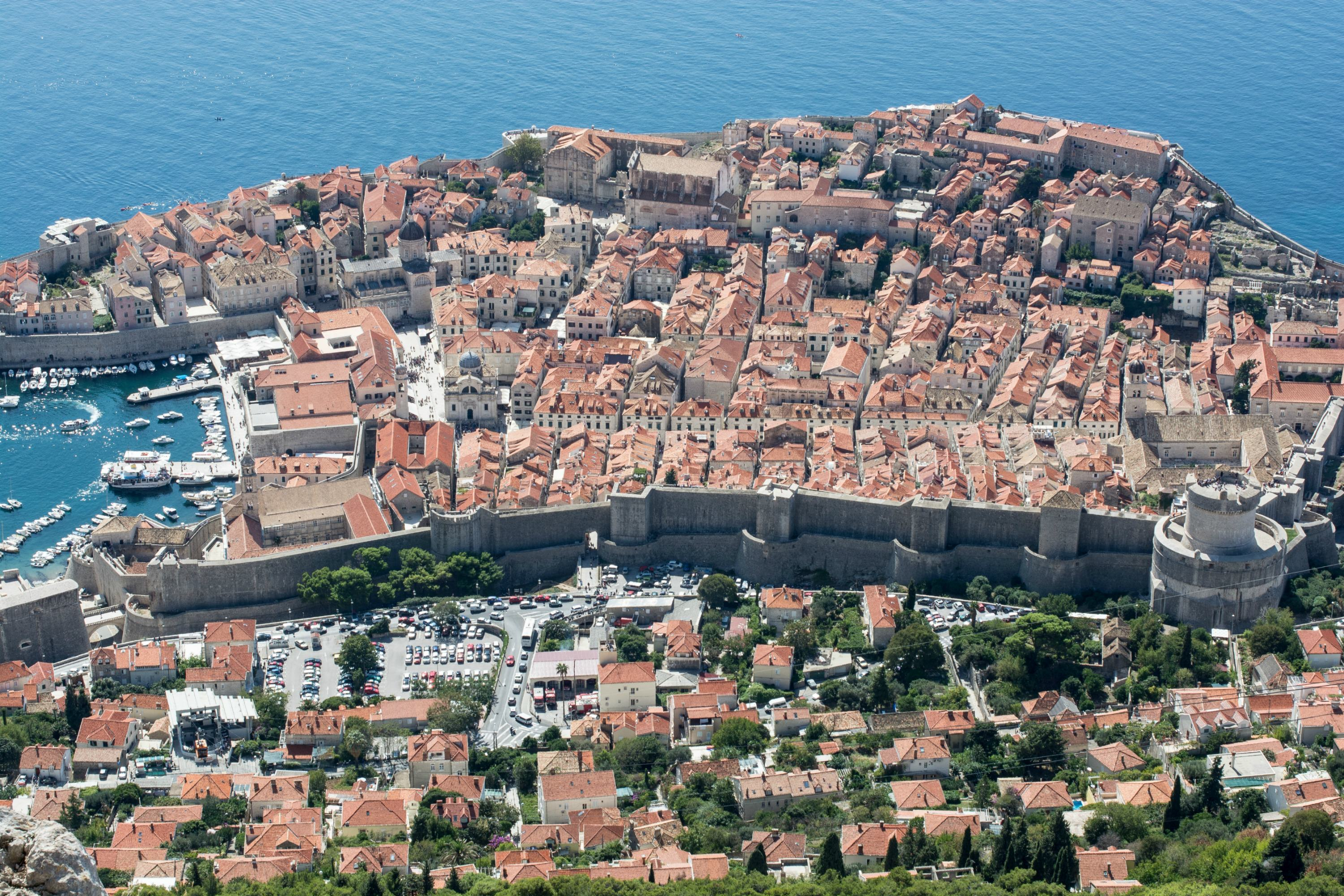 Dubrovnik old town view from cable car