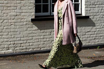 long sleeved green-maxi dress-pink-coat