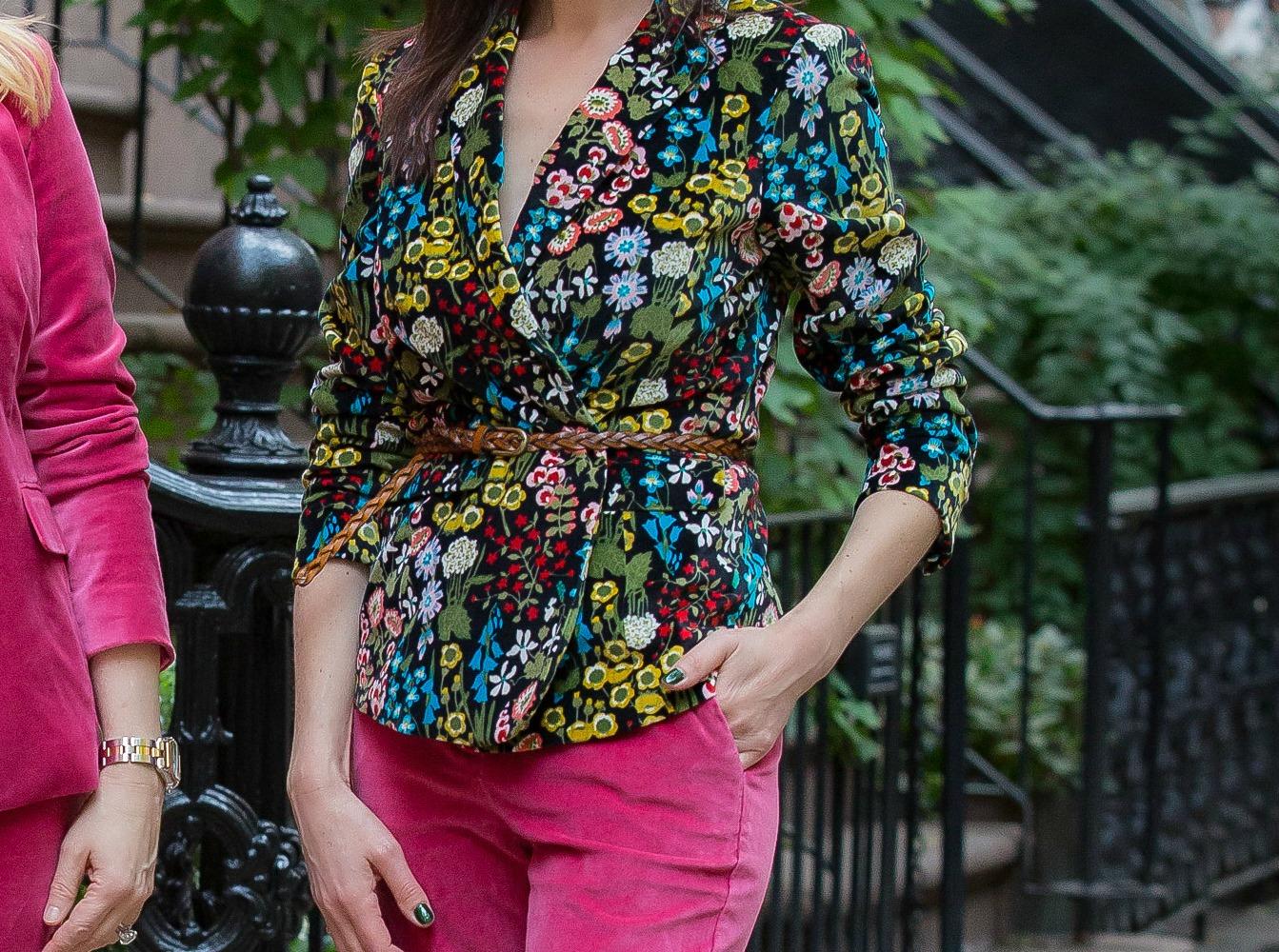 velvet suit trend floral blazer