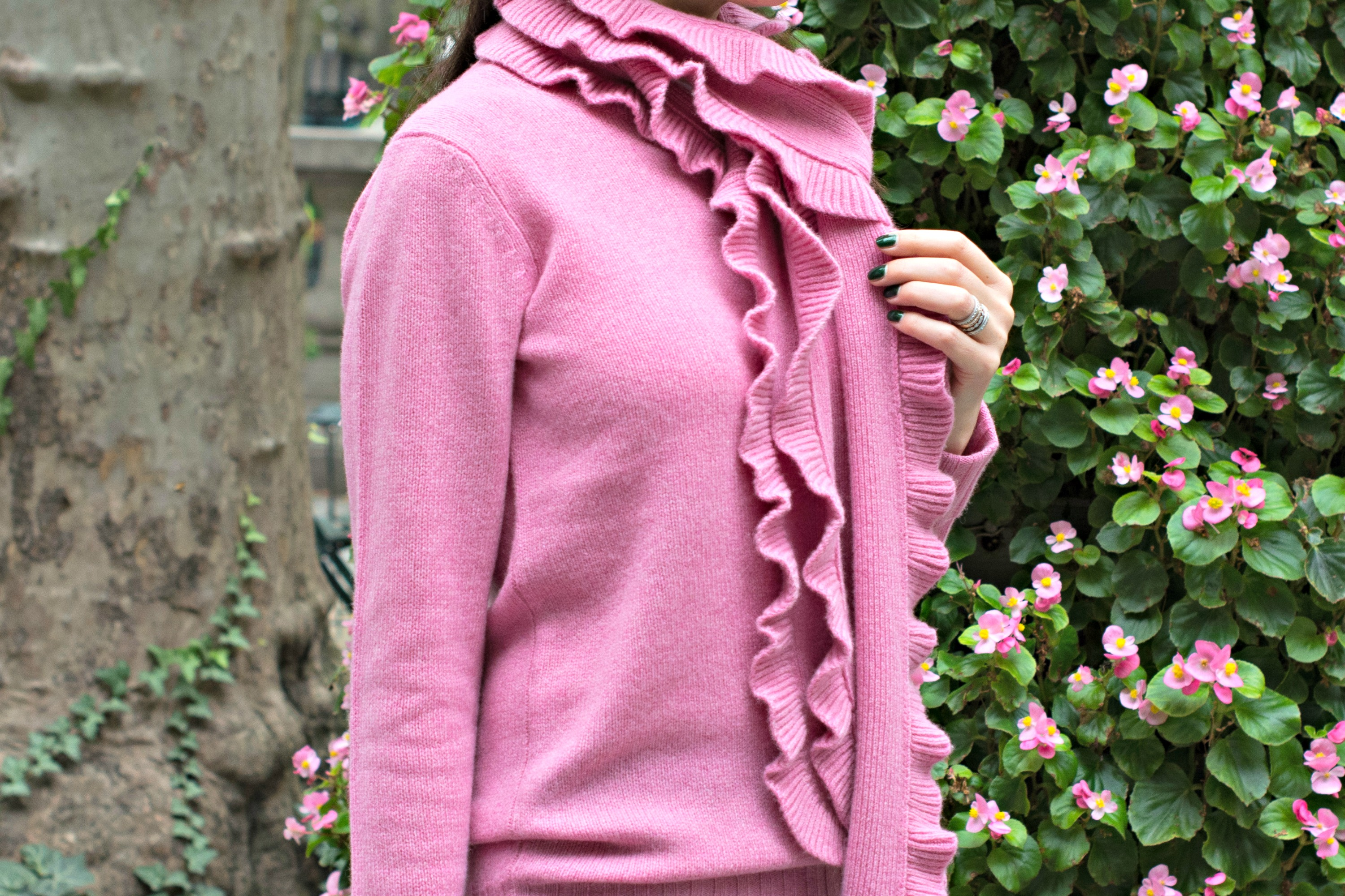 pink wool cashmere jumper and ruffle scarf from winser london