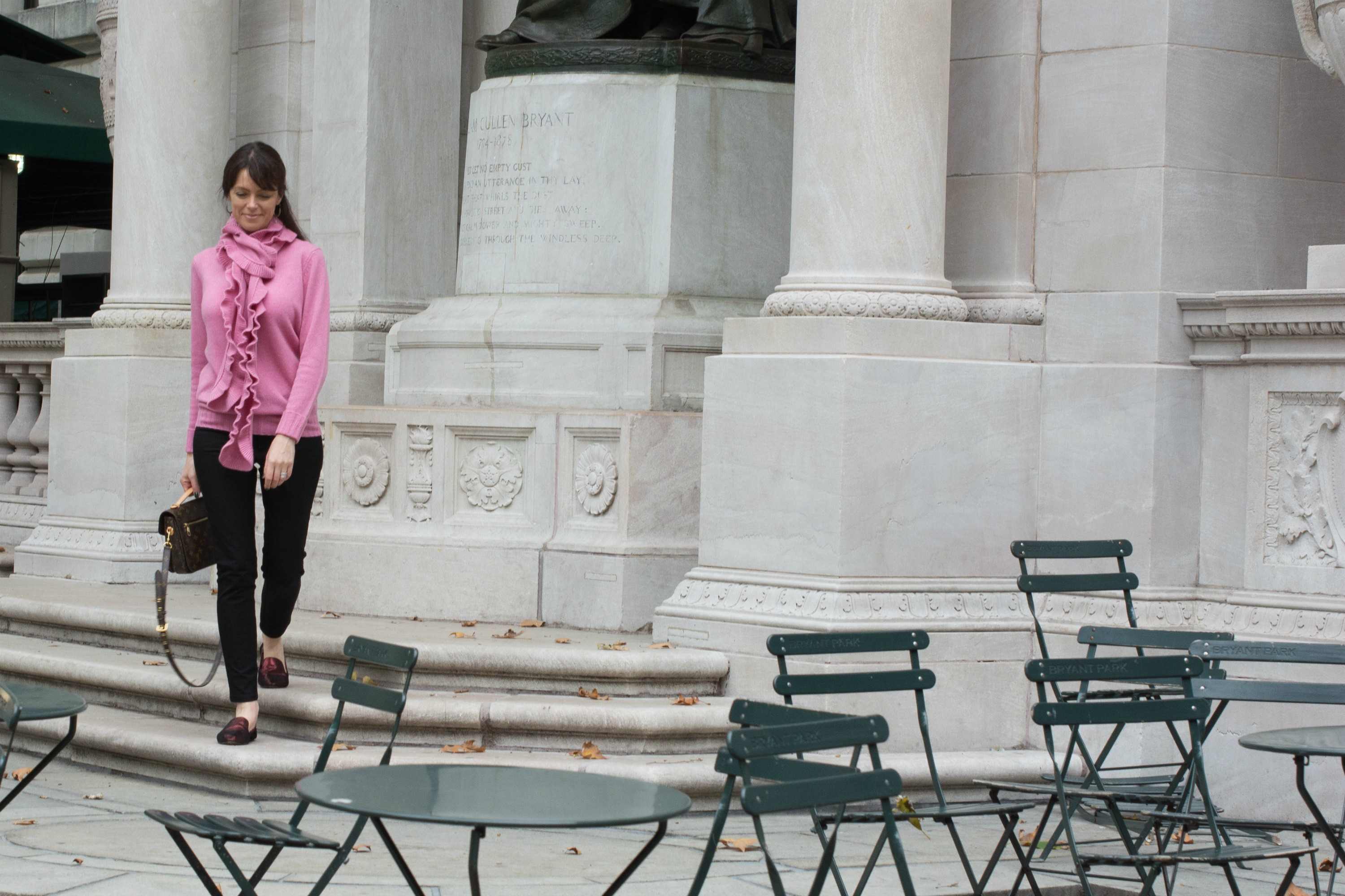 pink wool cashmere jumper and black jeans from winser london