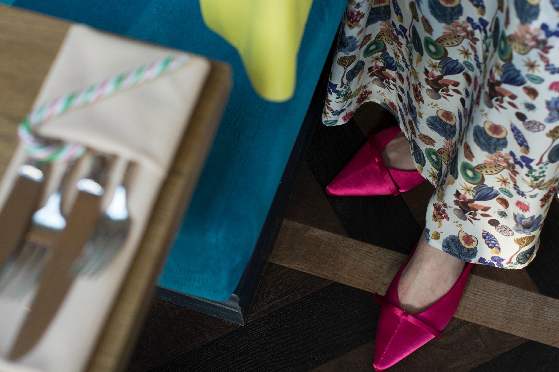 Ridley-London-dress-Mango-pink-slides-mules