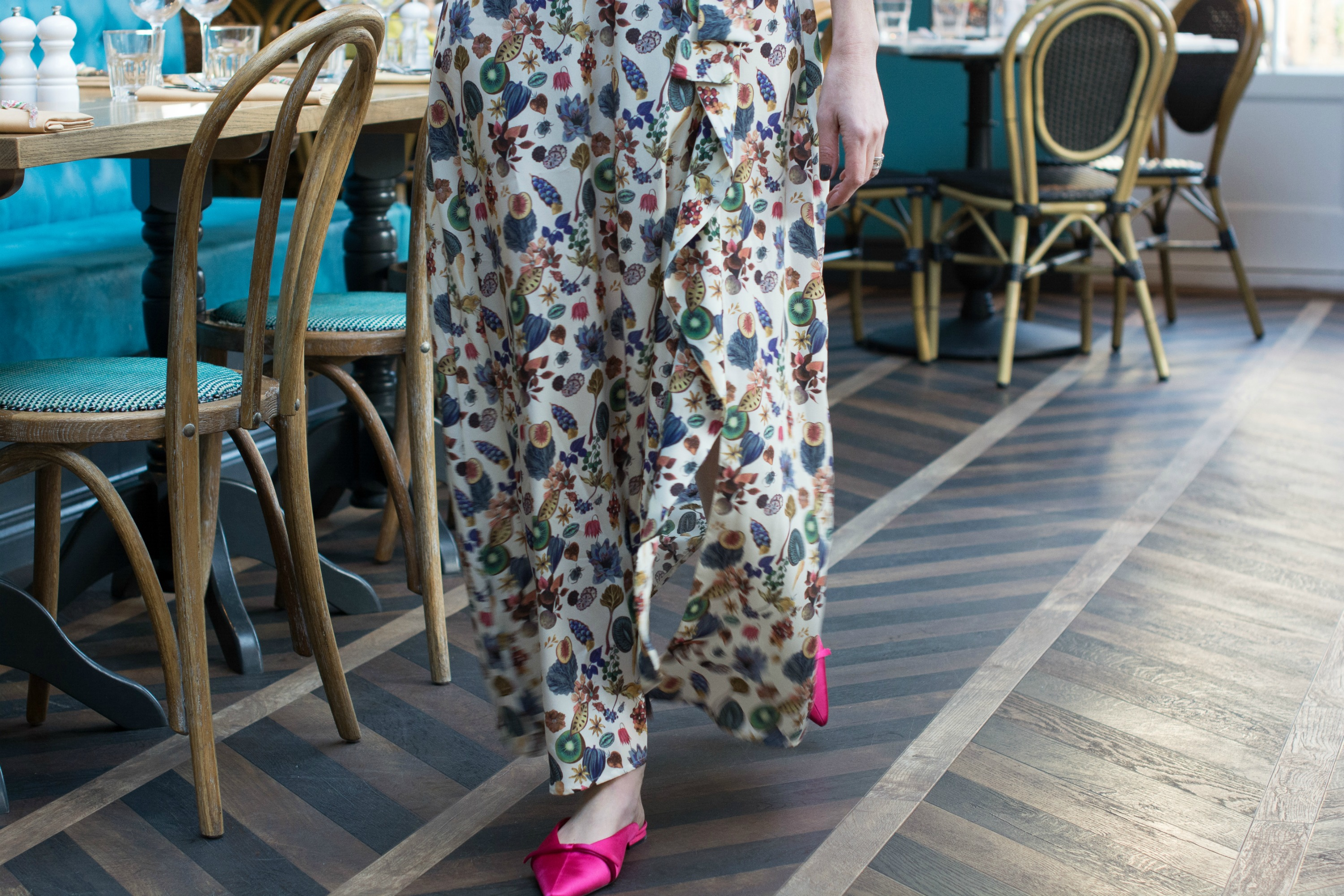 Ridley-London-maxi-with-bright-pink-mules