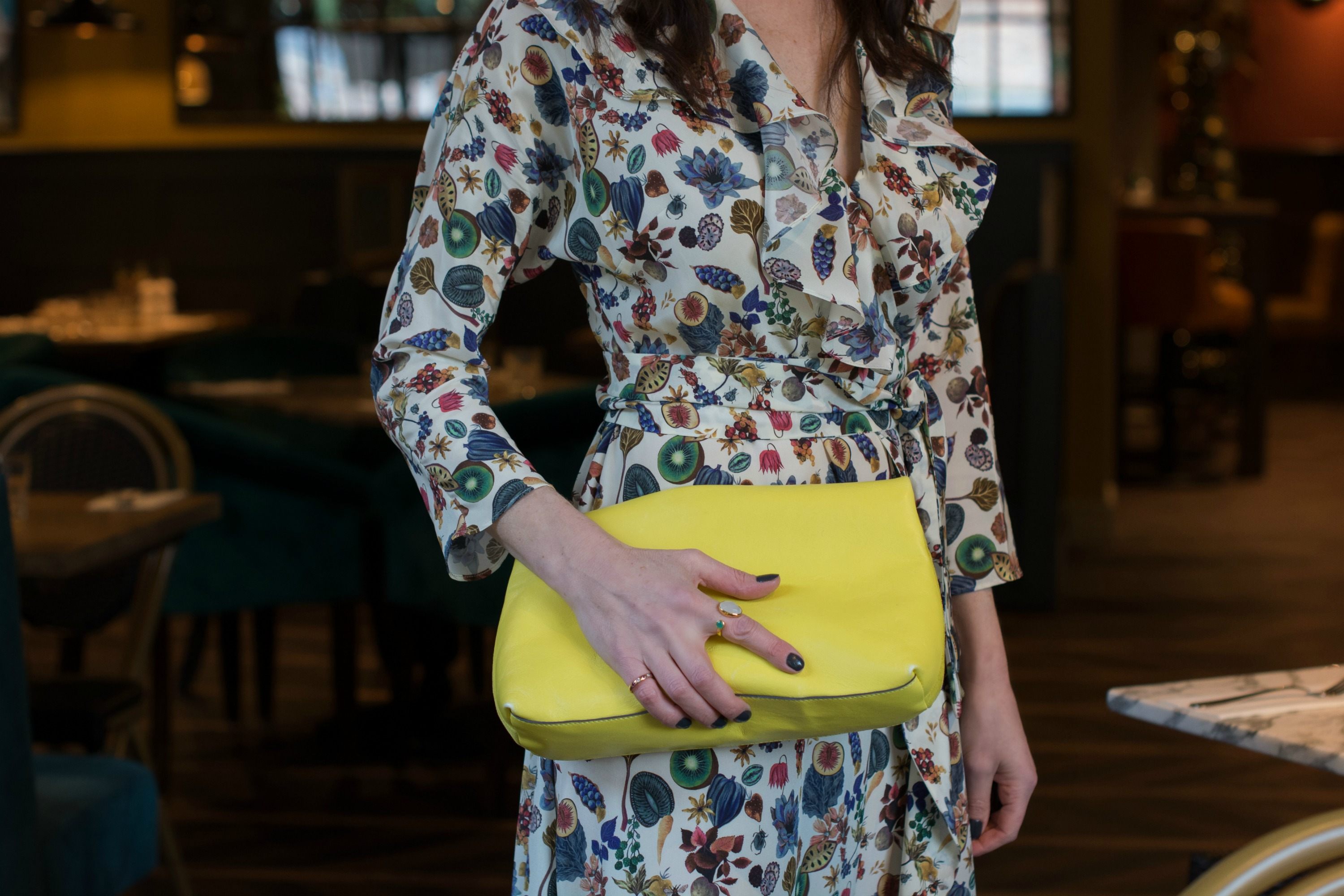 Ridley-London-maxi-with-bright-yellow-clutch