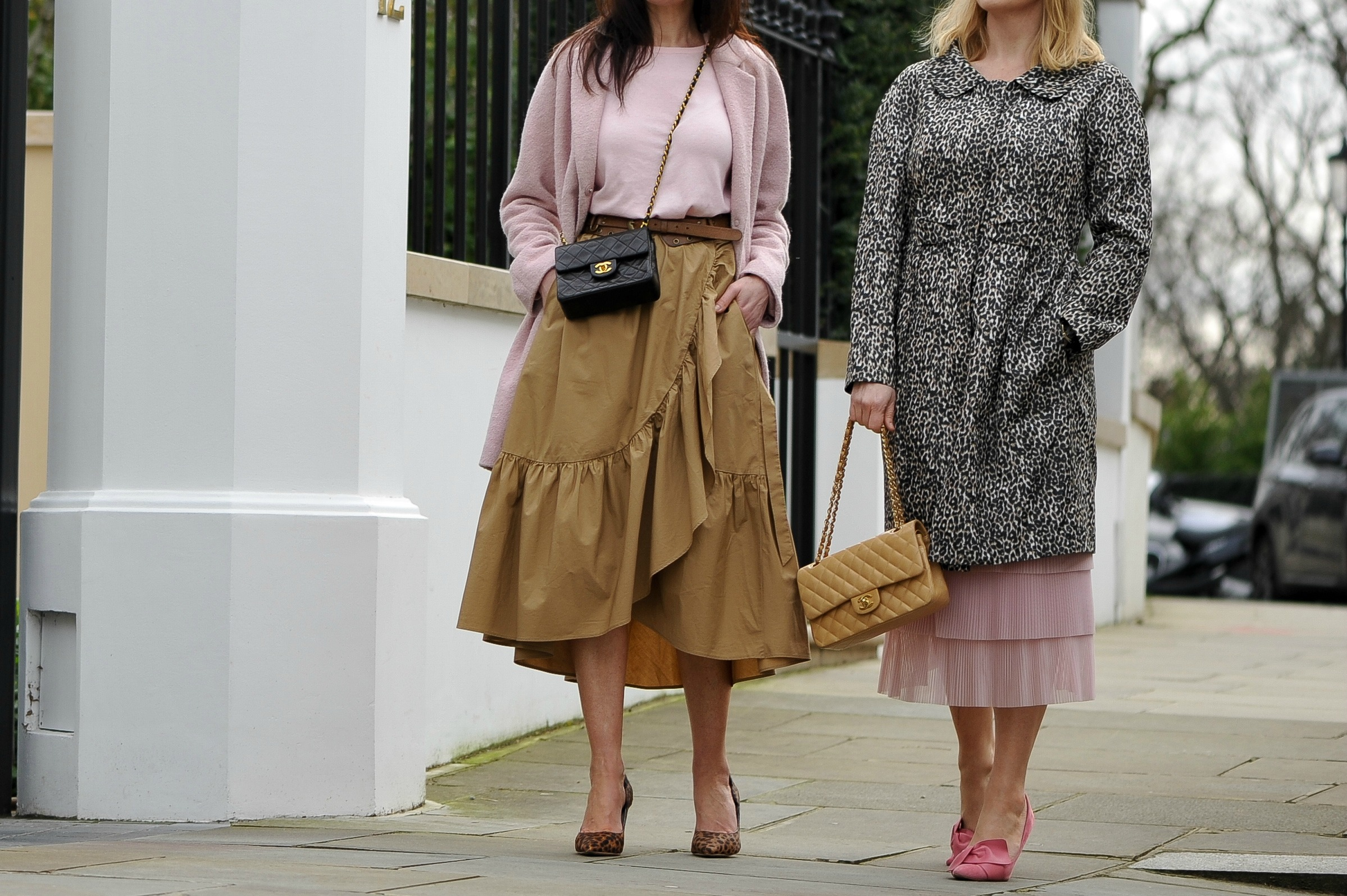 how-to-style-pink-tan-ruffle-skirt--leopard-shoes-coat